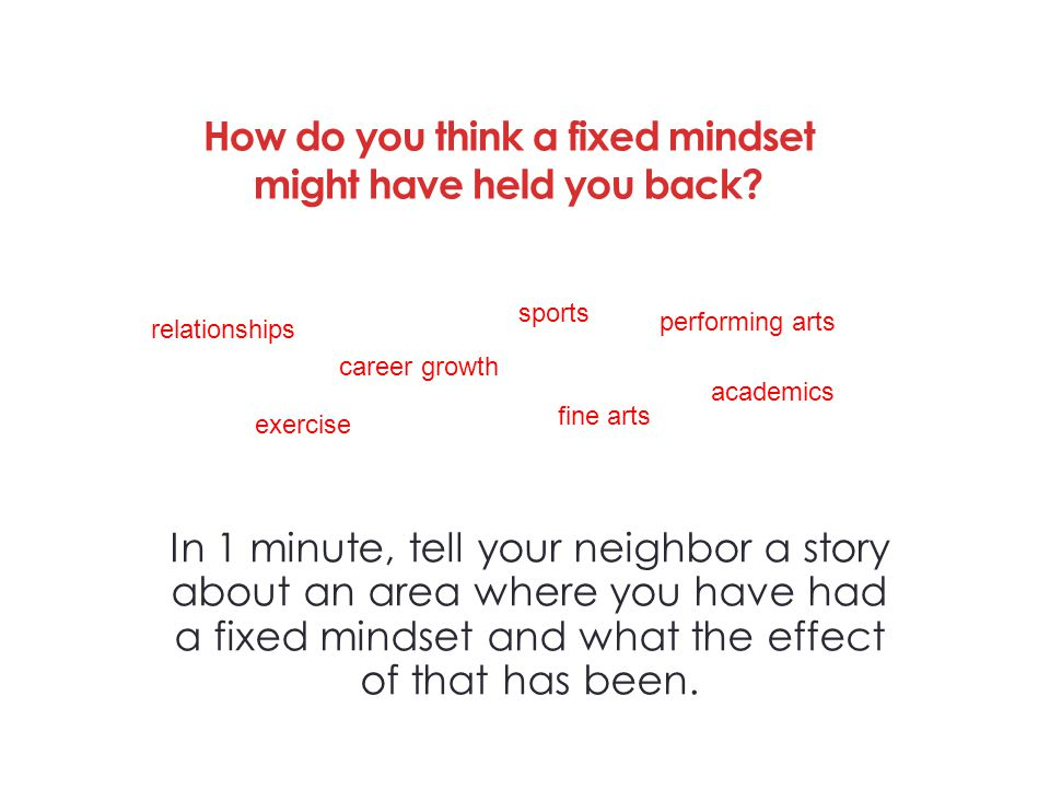 How do you think a fixed mindset might have held you back