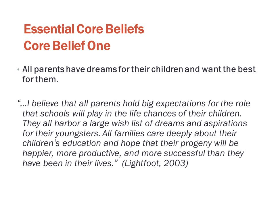 Essential Core Beliefs Core Belief One
