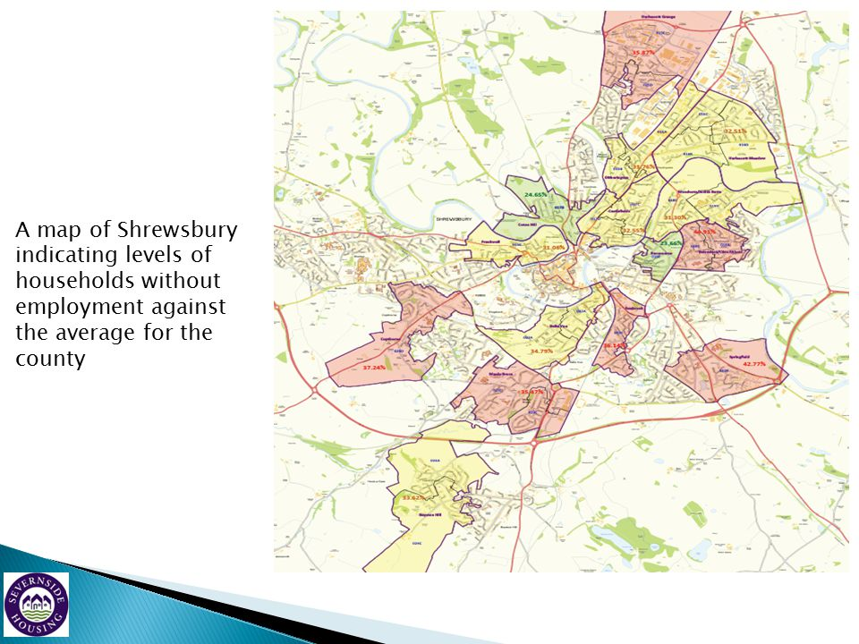 A map of Shrewsbury indicating levels of households without employment against the average for the county