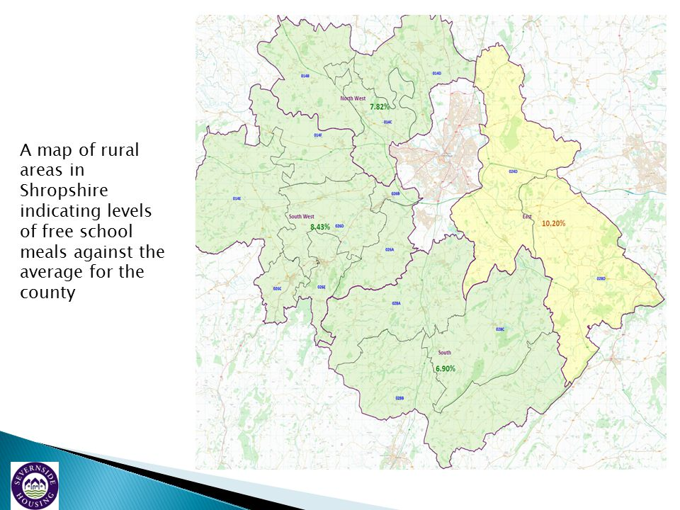 A map of rural areas in Shropshire indicating levels of free school meals against the average for the county