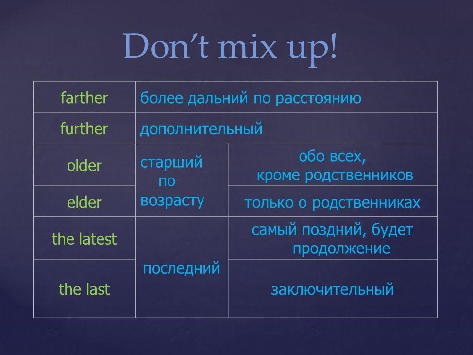 Don't mix up! farther более дальний по расстоянию further