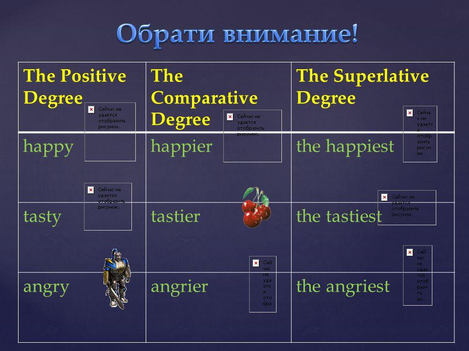 Обрати внимание! The Positive Degree The Comparative Degree