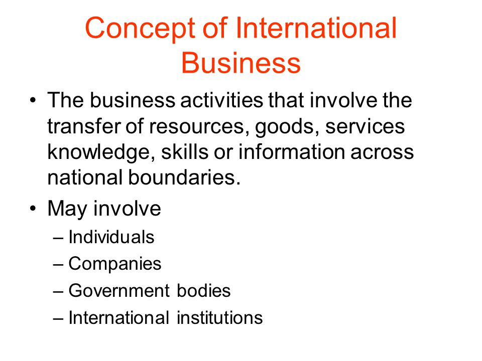 Concept of International Business