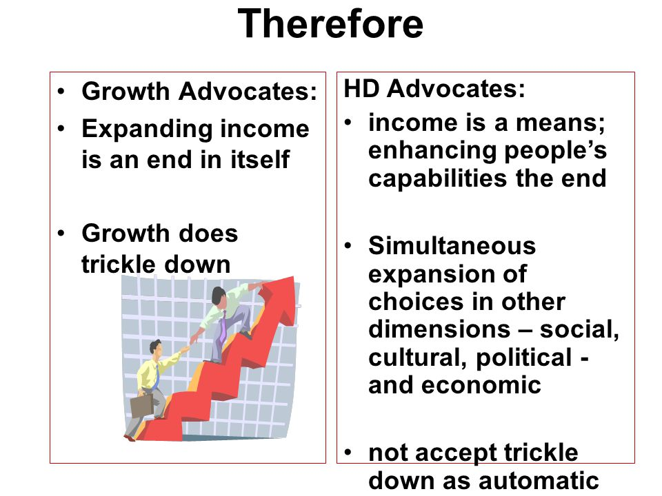 Therefore Growth Advocates: Expanding income is an end in itself
