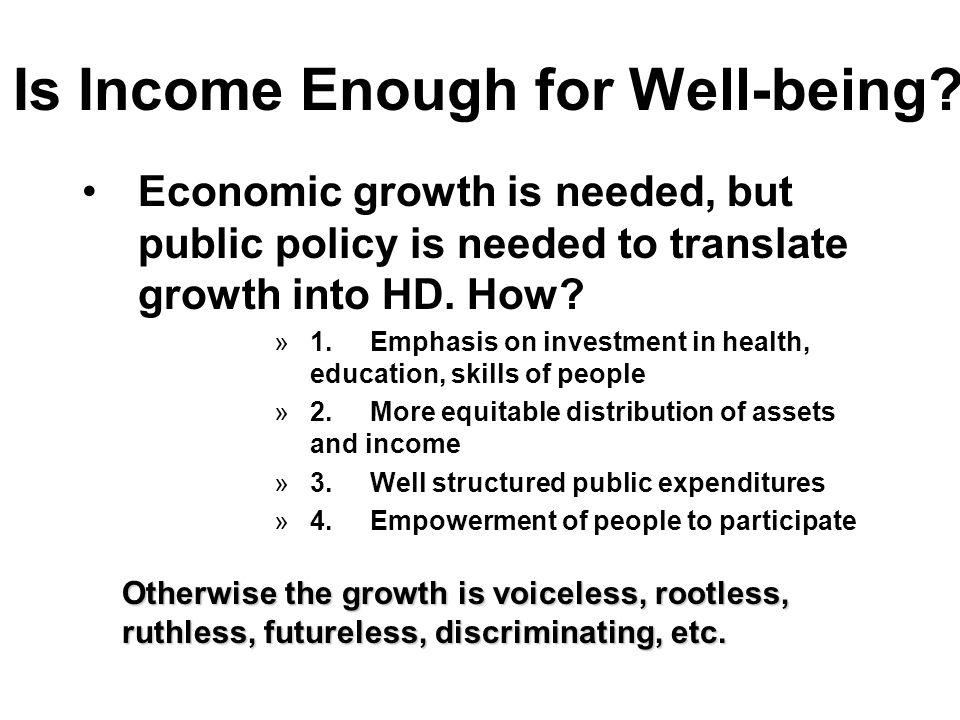 Is Income Enough for Well-being