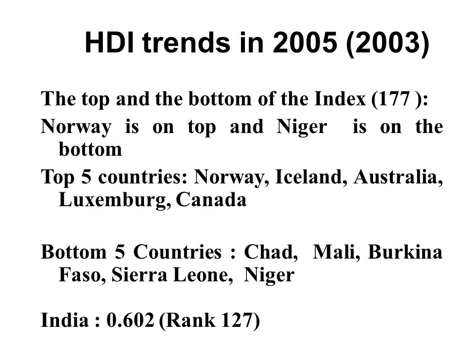 HDI trends in 2005 (2003) The top and the bottom of the Index (177 ):