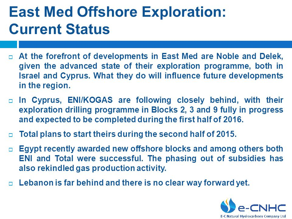 East Med Offshore Exploration: Current Status