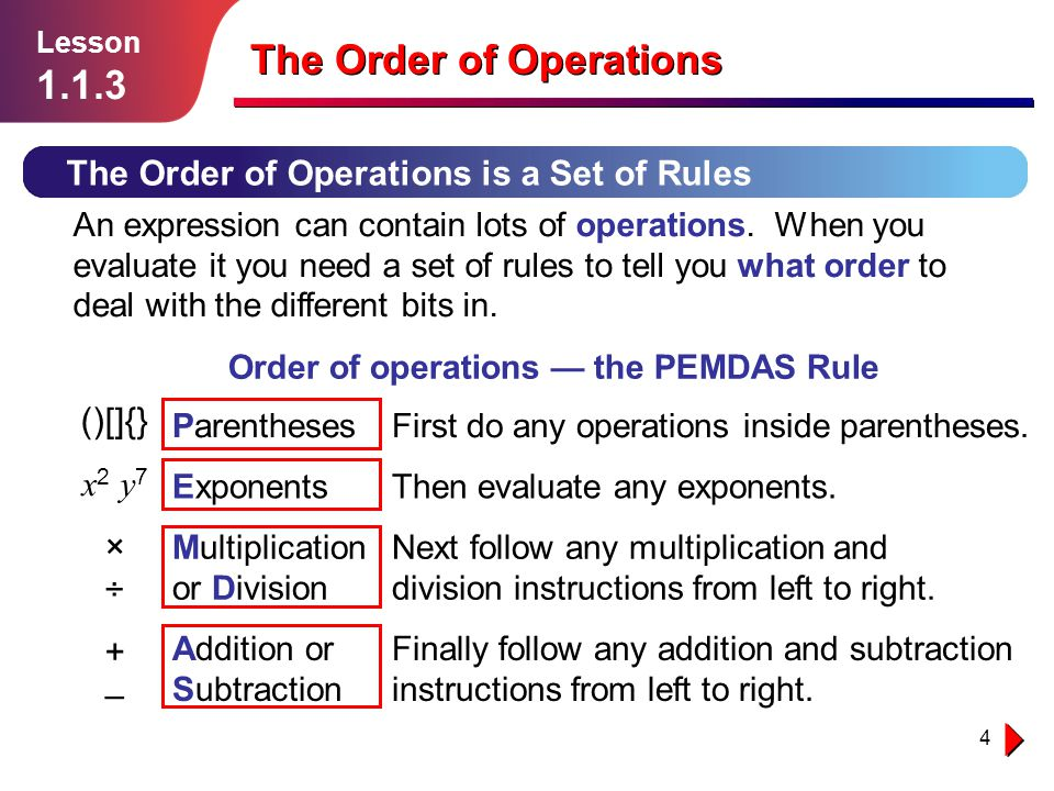 Order of operations — the PEMDAS Rule