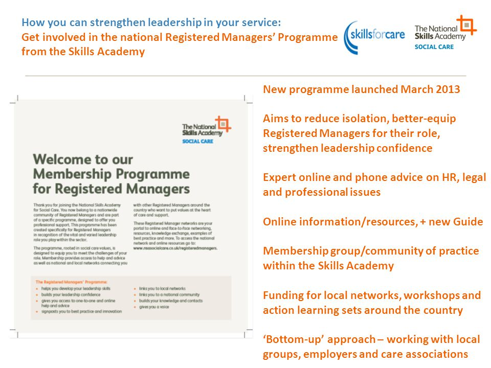 How you can strengthen leadership in your service: Get involved in the national Registered Managers' Programme from the Skills Academy