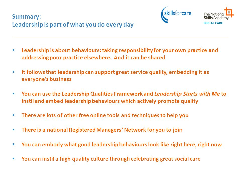 Summary: Leadership is part of what you do every day