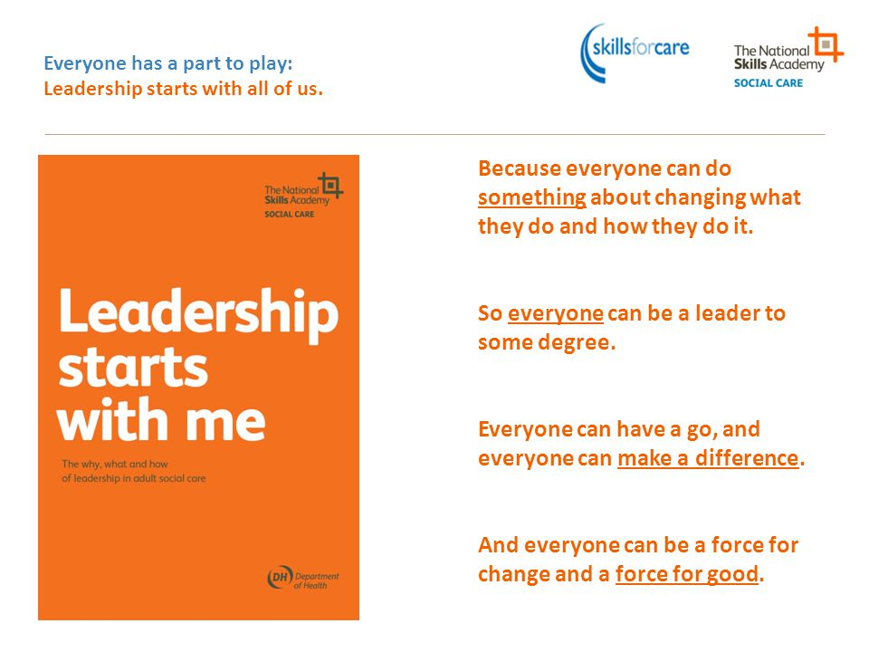 Everyone has a part to play: Leadership starts with all of us.