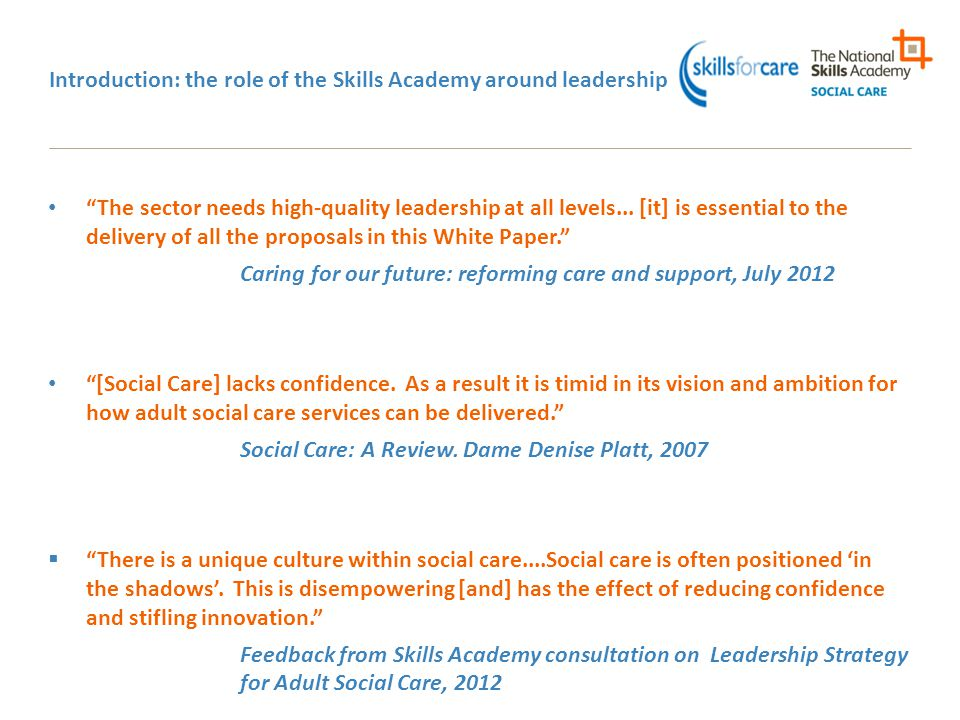 Introduction: the role of the Skills Academy around leadership