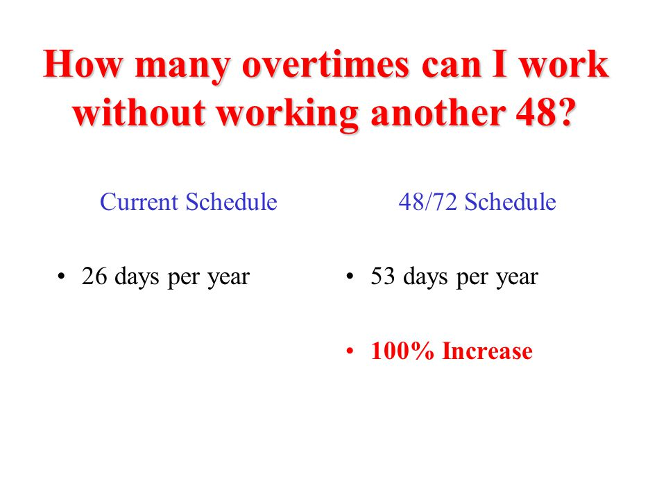 How many overtimes can I work without working another 48