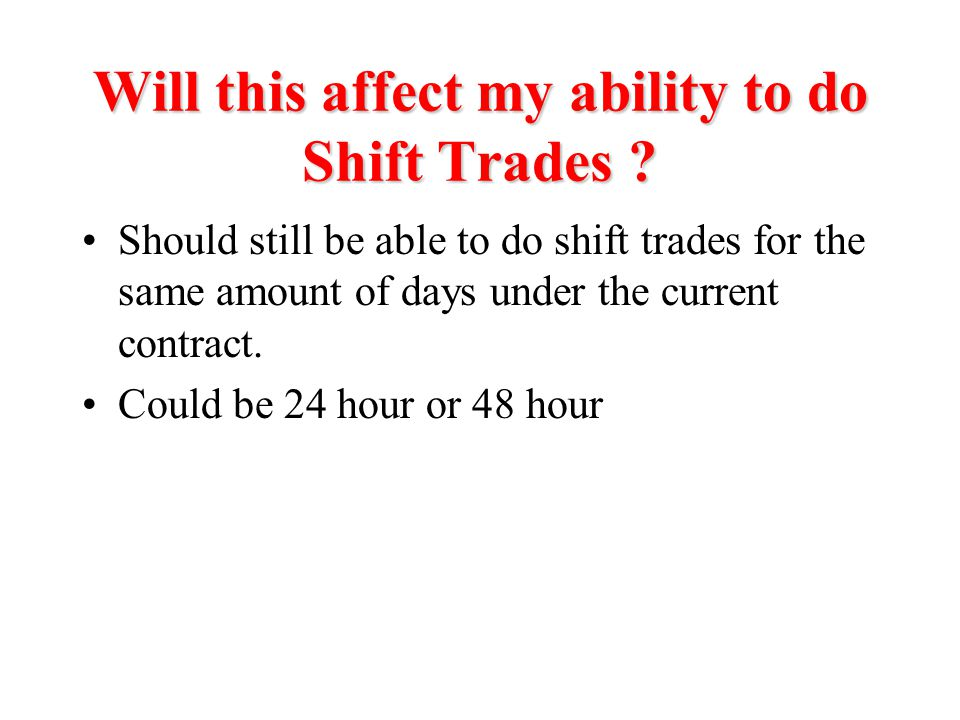 Will this affect my ability to do Shift Trades