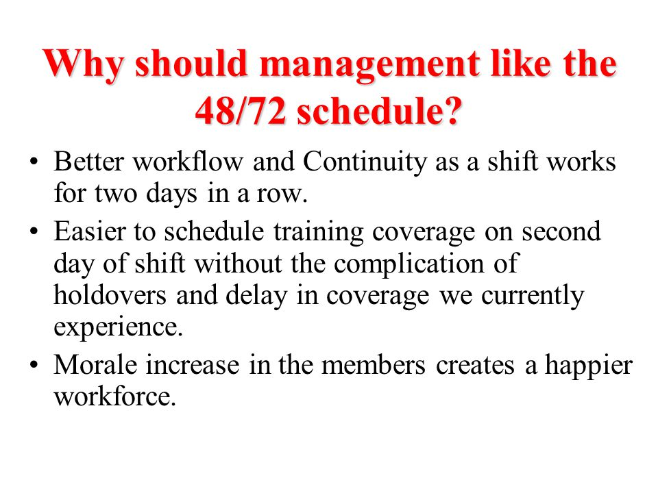 Why should management like the 48/72 schedule