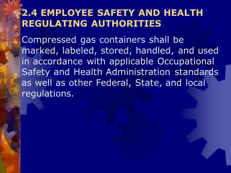 2.4 EMPLOYEE SAFETY AND HEALTH REGULATING AUTHORITIES