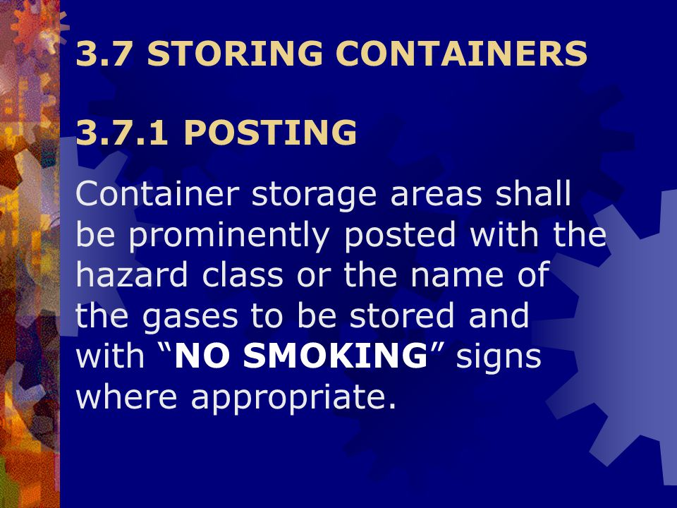 3.7 STORING CONTAINERS 3.7.1 POSTING.