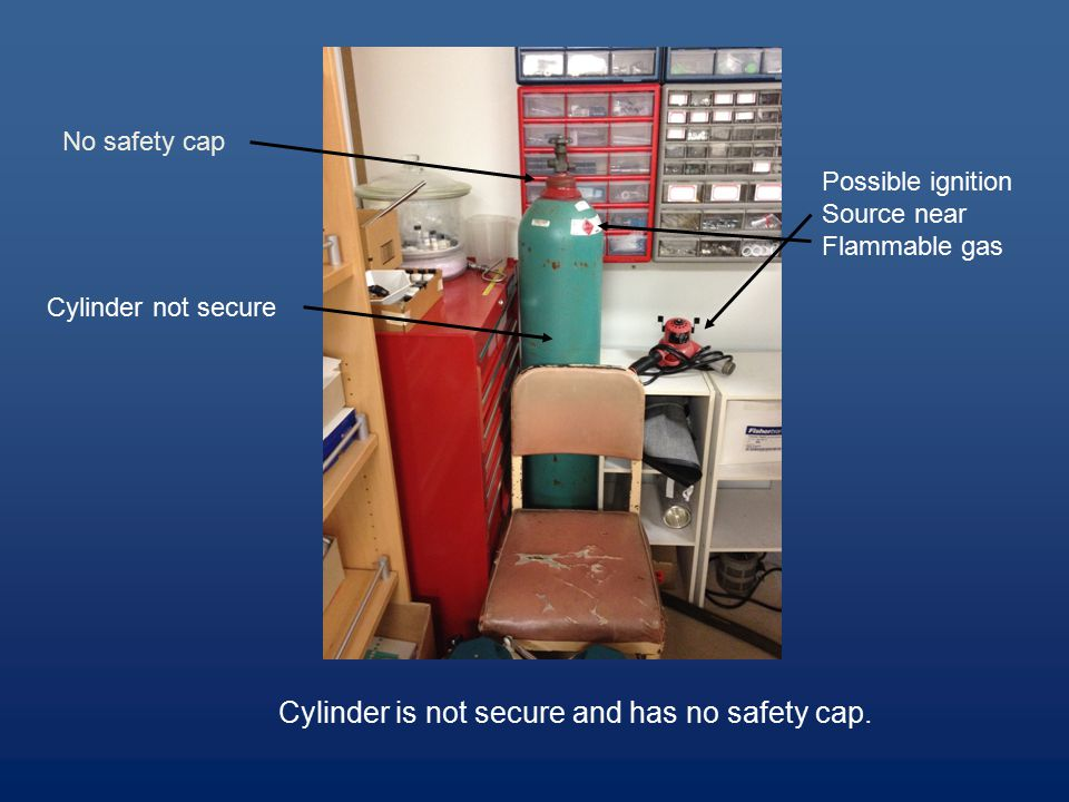 Cylinder is not secure and has no safety cap.