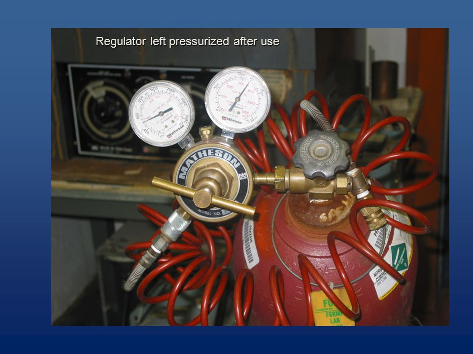 Regulator left pressurized after use