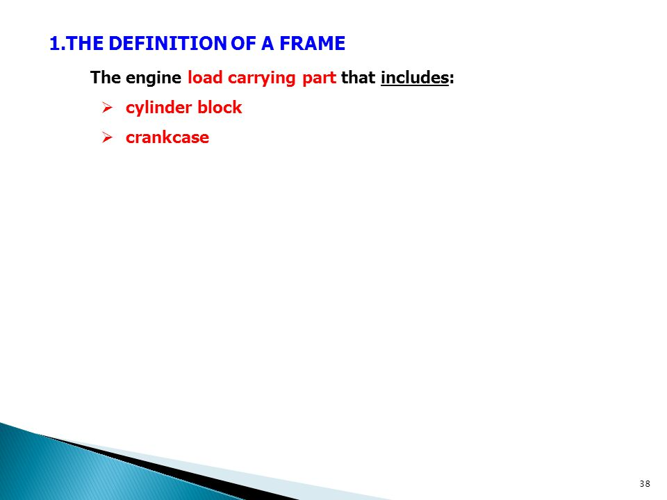 THE DEFINITION OF A FRAME The engine load carrying part that includes:
