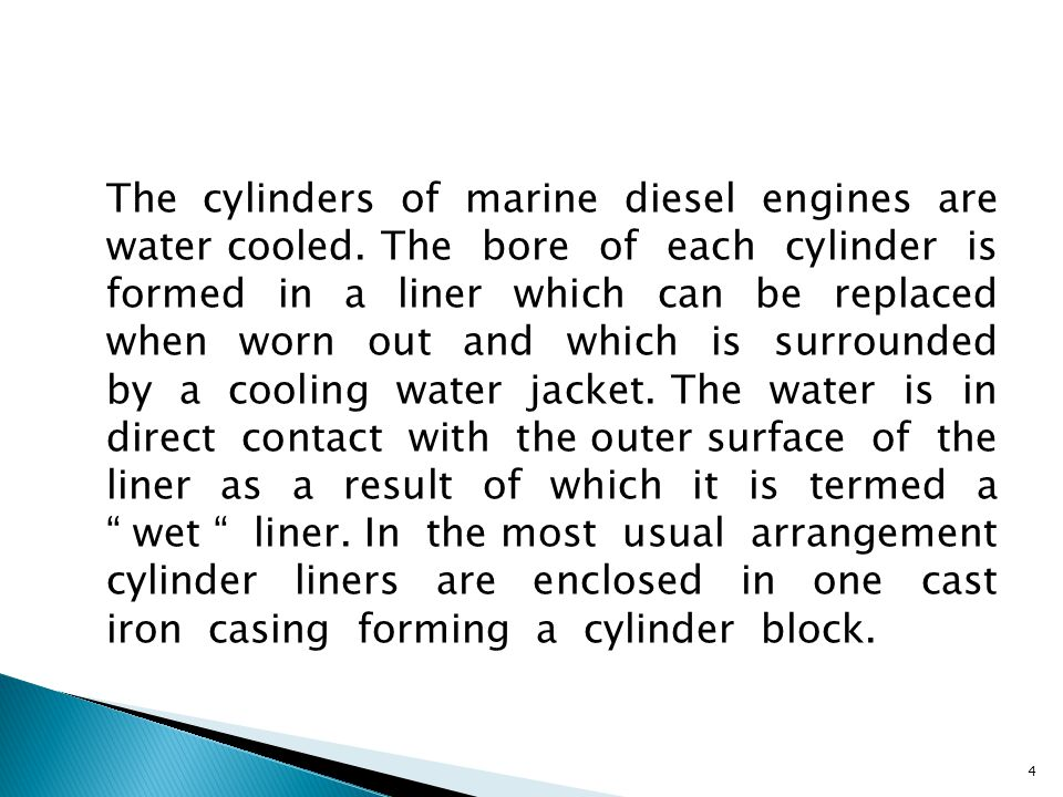 The cylinders of marine diesel engines are water cooled