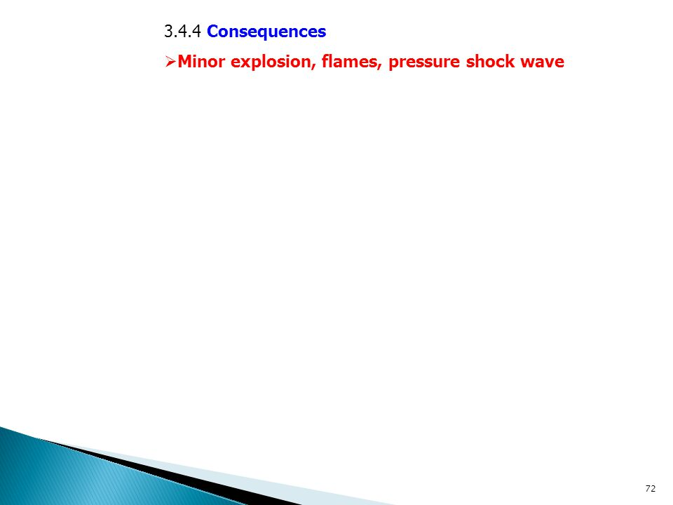 3.4.4 Consequences Minor explosion, flames, pressure shock wave