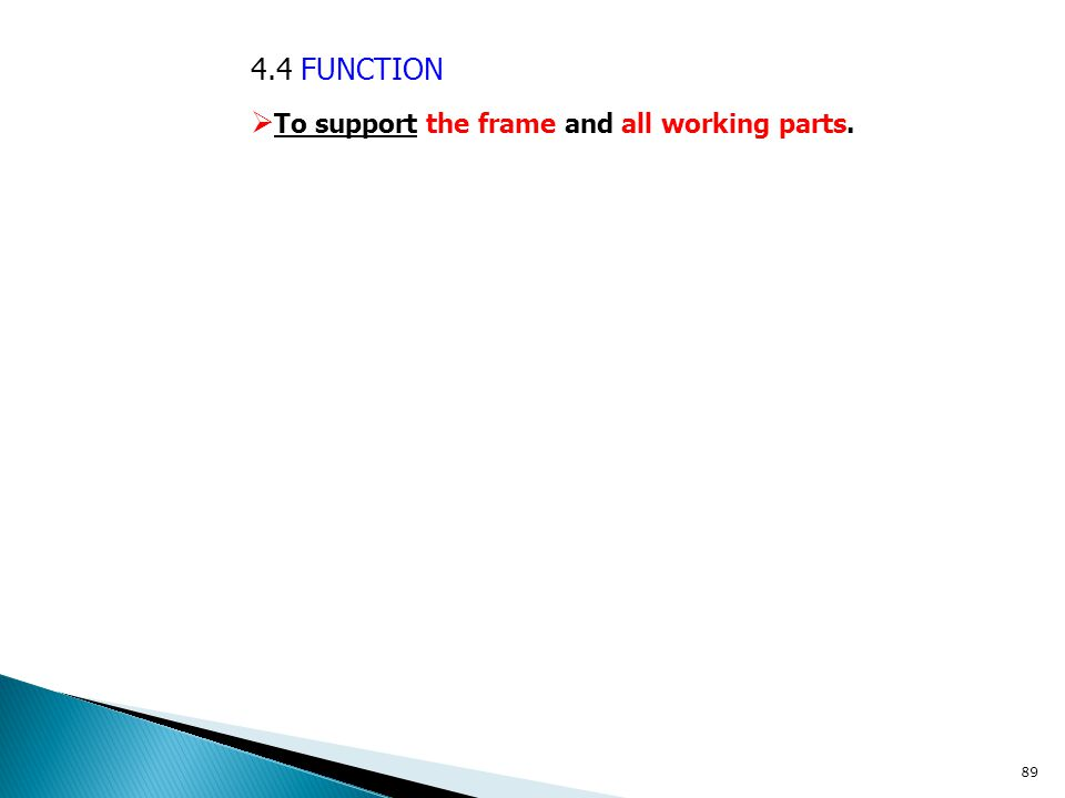 4.4 FUNCTION To support the frame and all working parts.