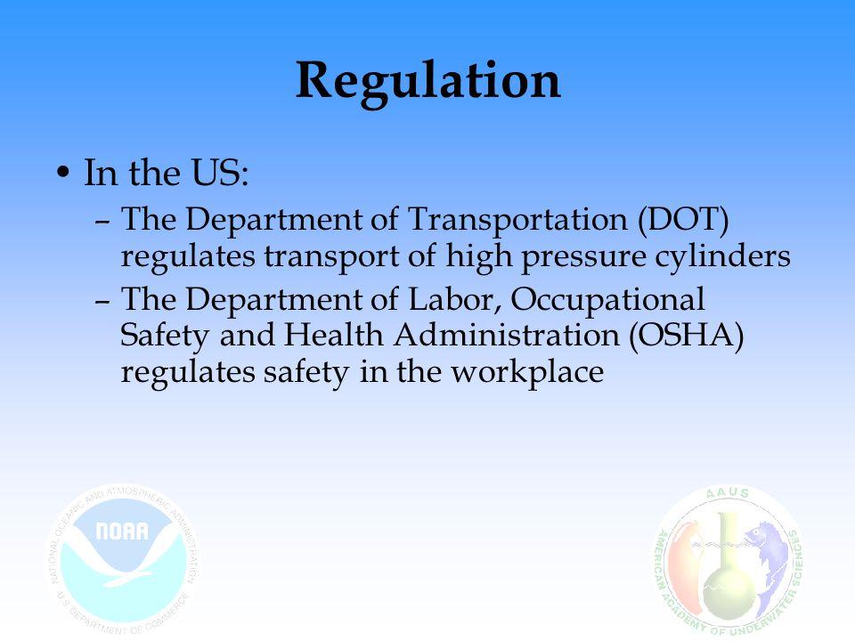 * 07/16/96. Regulation. In the US: The Department of Transportation (DOT) regulates transport of high pressure cylinders.