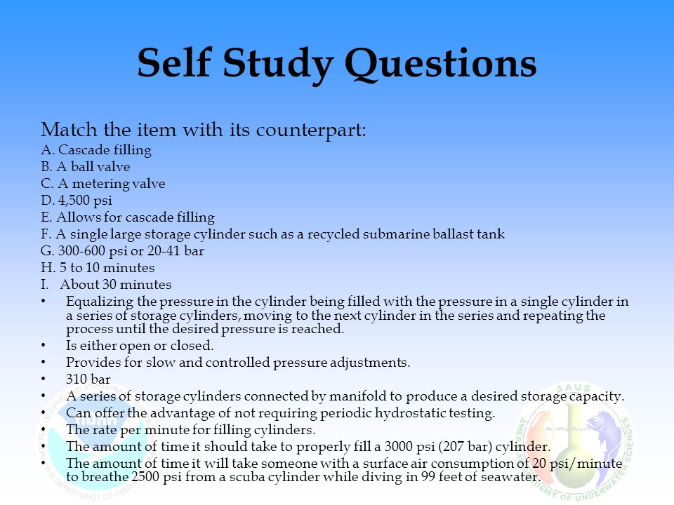 Self Study Questions Match the item with its counterpart: