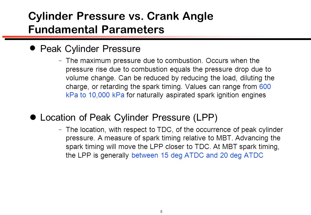 Cylinder Pressure vs. Crank Angle Fundamental Parameters