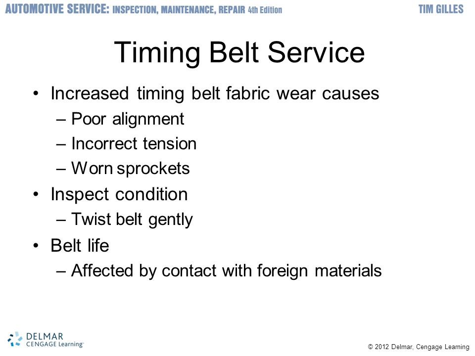 Timing Belt Service Increased timing belt fabric wear causes