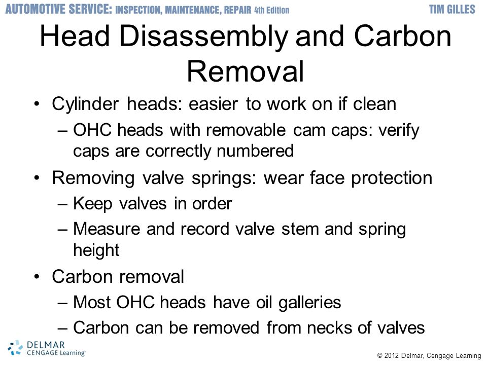 Head Disassembly and Carbon Removal