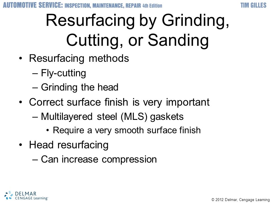 Resurfacing by Grinding, Cutting, or Sanding