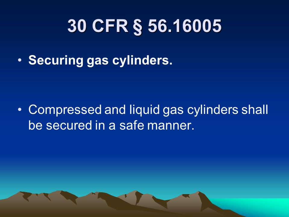 30 CFR § 56.16005 Securing gas cylinders.
