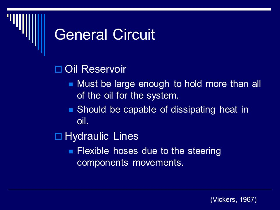 General Circuit Oil Reservoir Hydraulic Lines