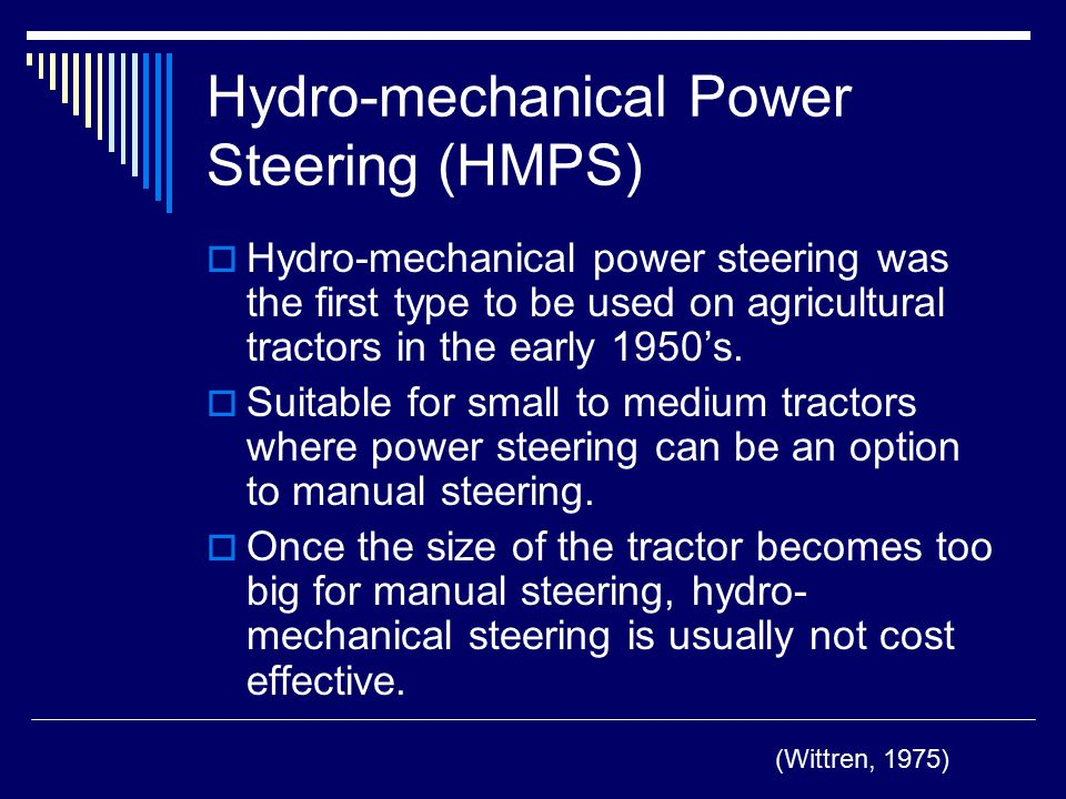 Hydro-mechanical Power Steering (HMPS)