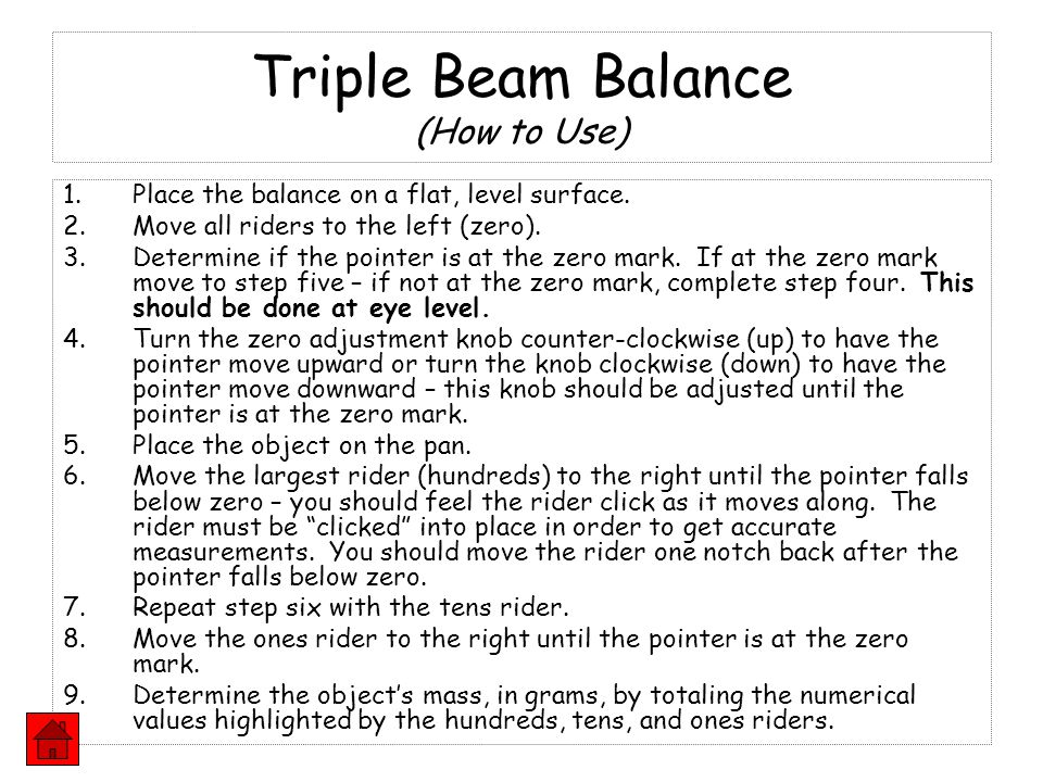 Triple Beam Balance (How to Use)
