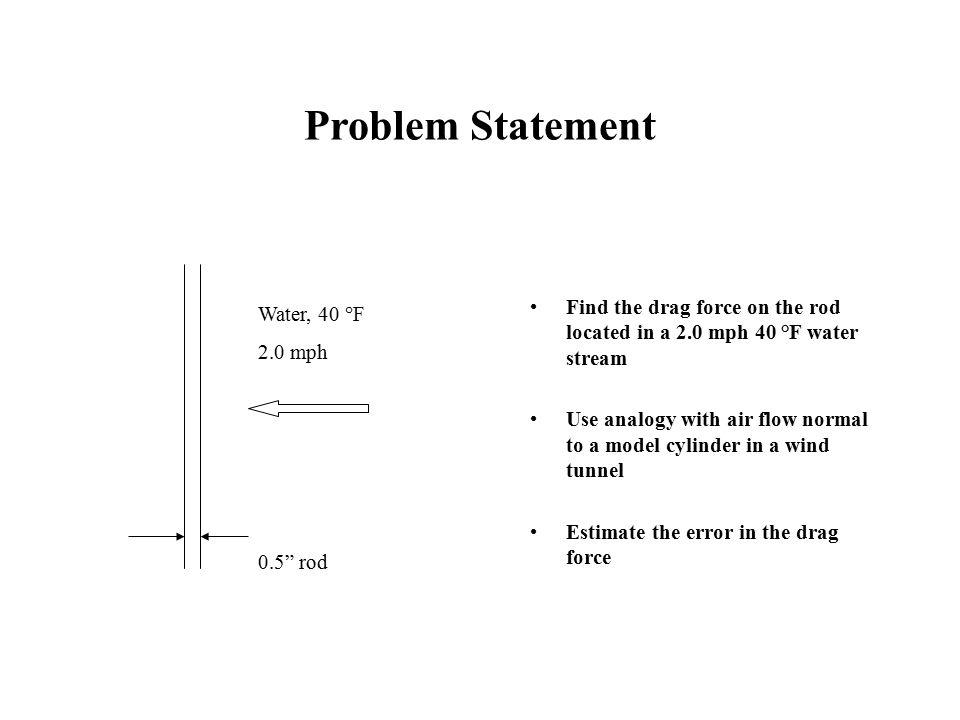 Problem Statement Water, 40 °F 2.0 mph 0.5 rod