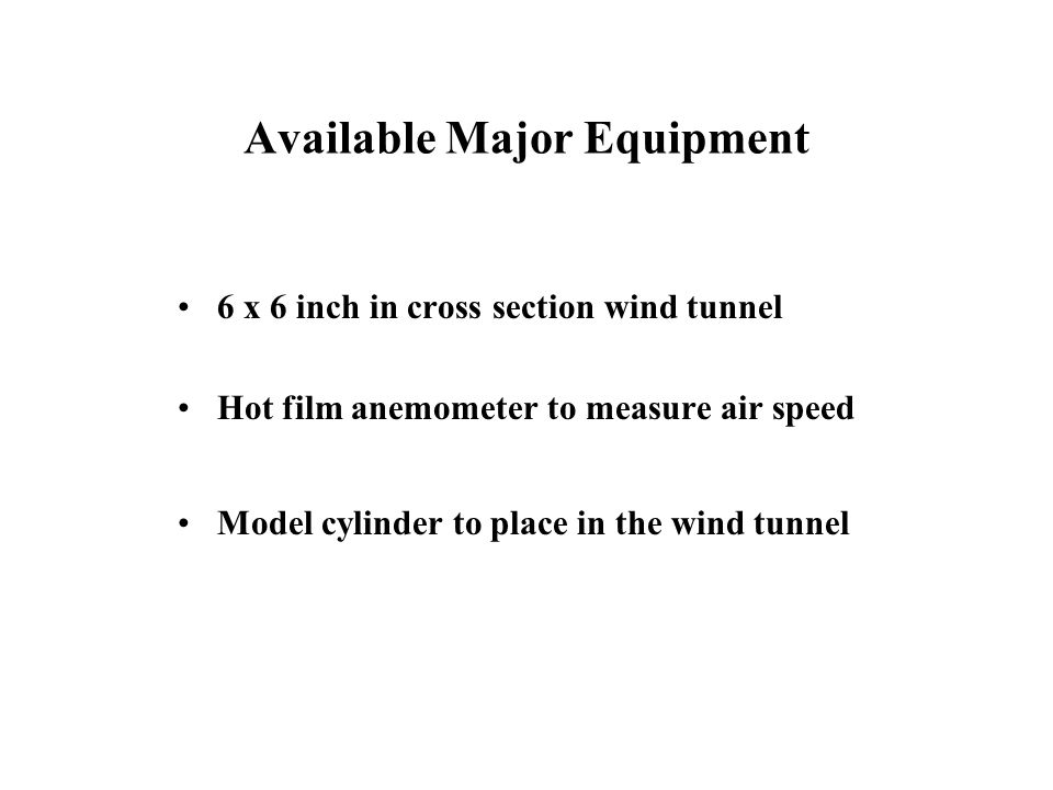 Available Major Equipment