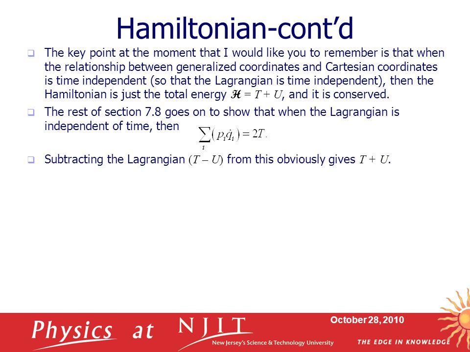 Hamiltonian-cont'd