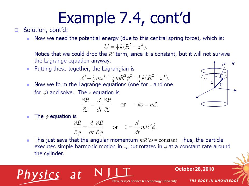 Example 7.4, cont'd Solution, cont'd: z r