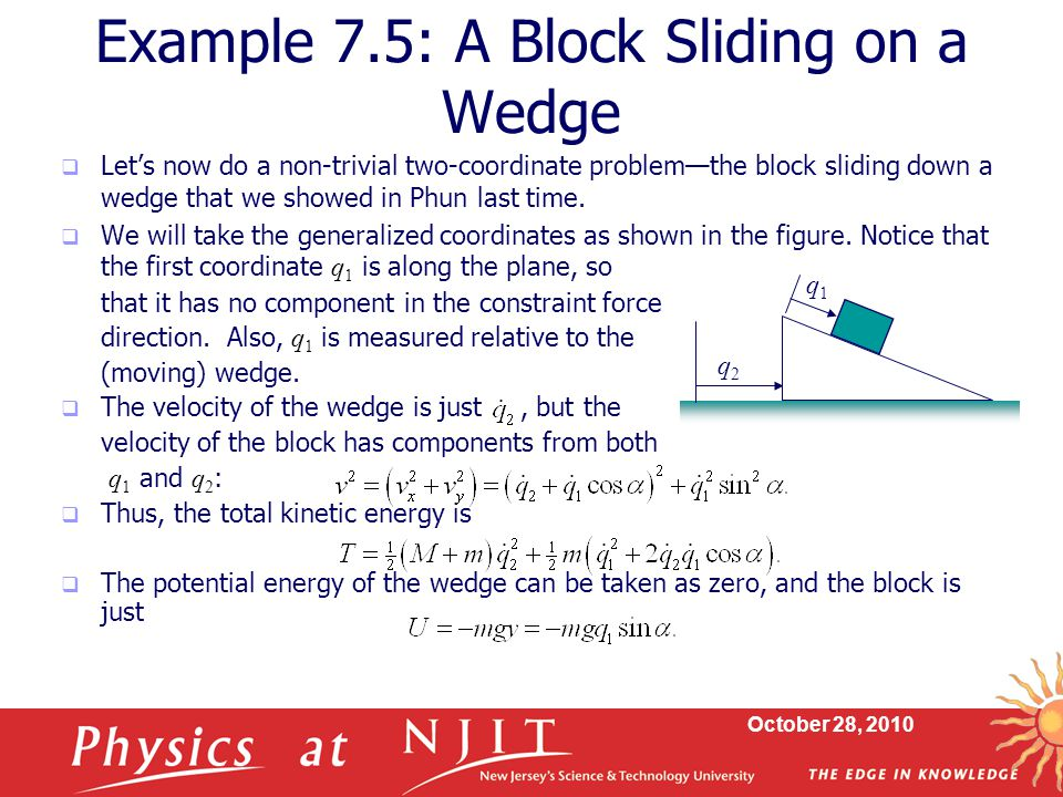 Example 7.5: A Block Sliding on a Wedge