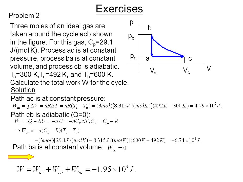 Exercises Problem 2 p Three moles of an ideal gas are