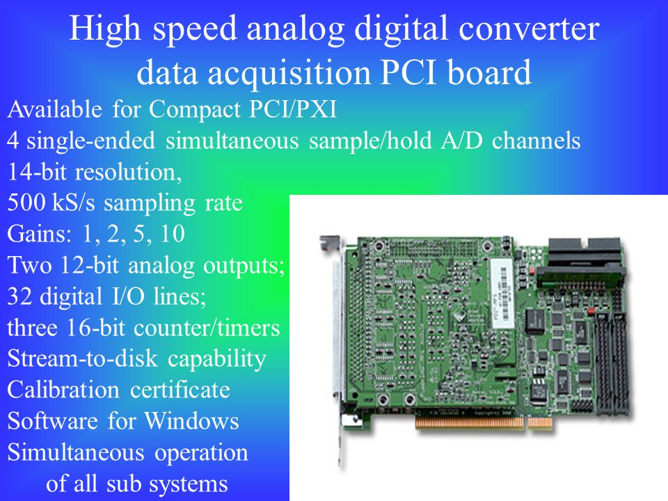 High speed analog digital converter data acquisition PCI board