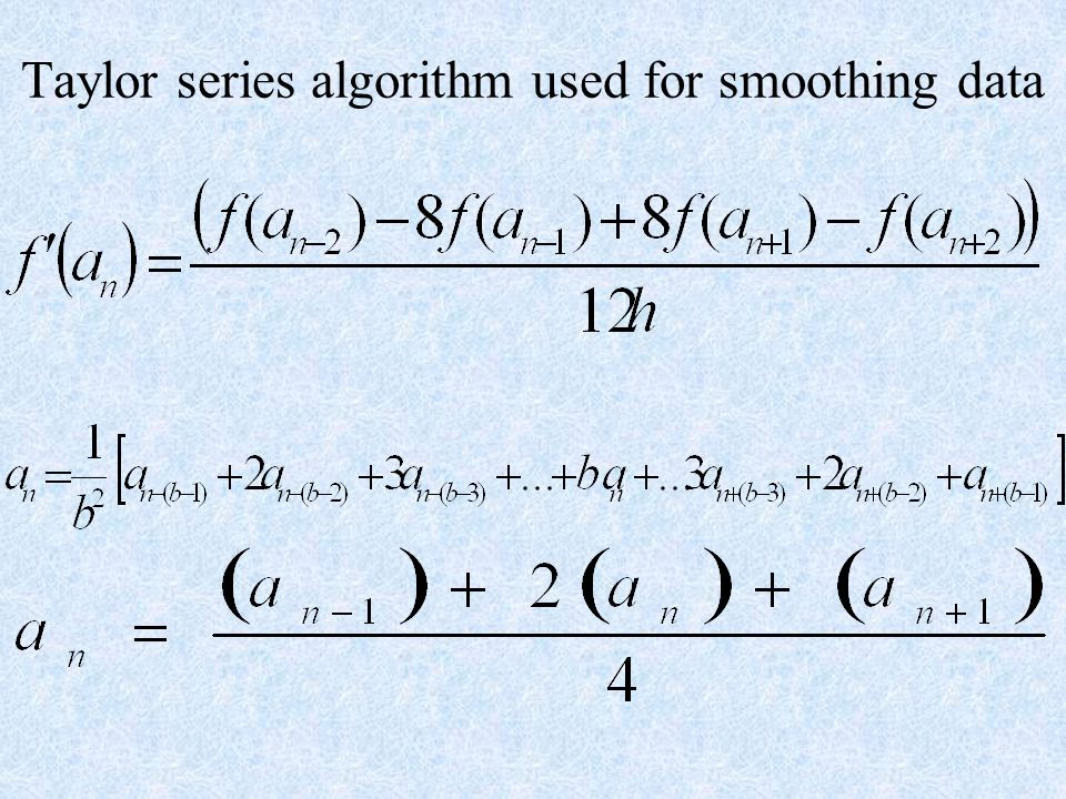 Taylor series algorithm used for smoothing data