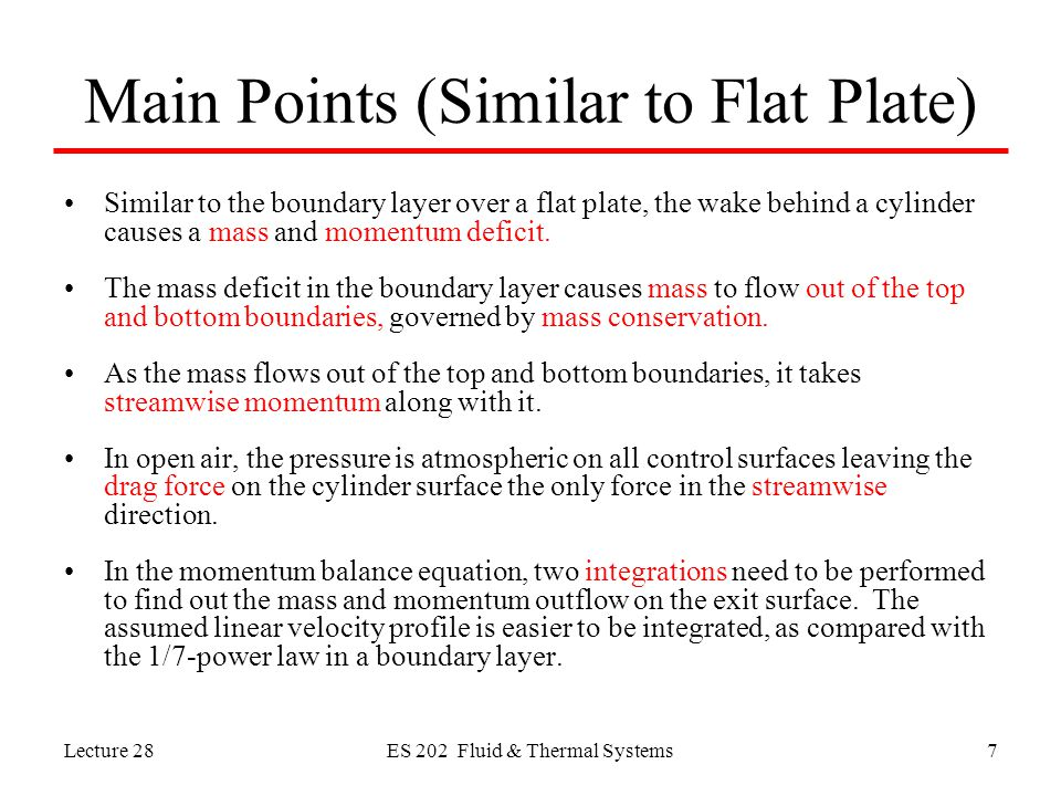 Main Points (Similar to Flat Plate)