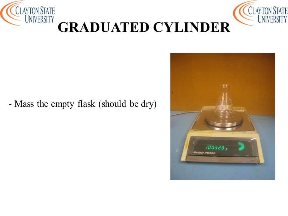 - Mass the empty flask (should be dry)