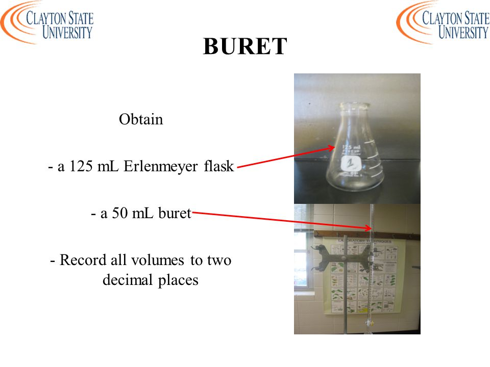 BURET Obtain - a 125 mL Erlenmeyer flask - a 50 mL buret - Record all volumes to two decimal places