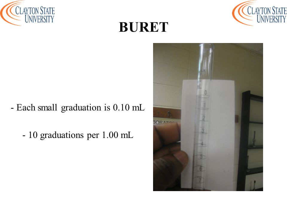 - Each small graduation is 0.10 mL - 10 graduations per 1.00 mL