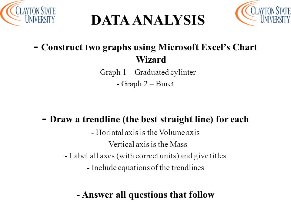 DATA ANALYSIS - Construct two graphs using Microsoft Excel's Chart Wizard. - Graph 1 – Graduated cylinter.